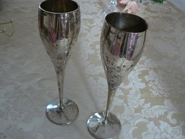 Vintage Silver Silverplated Wine Champagne Goblets