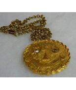 VTG Goldtone 1950's Smiley Face Rhinestone Eyes Brooch/Pendant Necklace  - $29.69