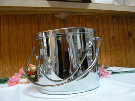 Vintage Unmarked Handled Silverplate Glass Lined Ice Bucket - $34.70