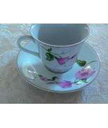 Sweet Vintage Telefloral Gift Pink Morning Glories Cup/Saucer - $8.41