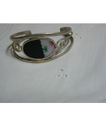 Vintage Alpaca Mexico Inlaid Abalone Silver Cuff Bracelet  - $14.84