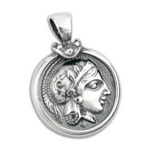 Goddess Athena & Owl Tetradrachm - Sterling Silver Coin Pendant -M  - $42.00