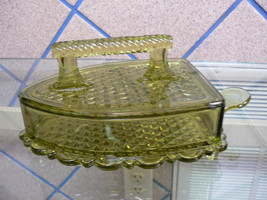 Vintage L.G. Wright Green Depression Art Glass Footed Iron Covered Candy... - $69.28