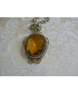 Awesome Vintage Whiting & Davis Victorian Style Large Amber Pendant Neck... - $41.94