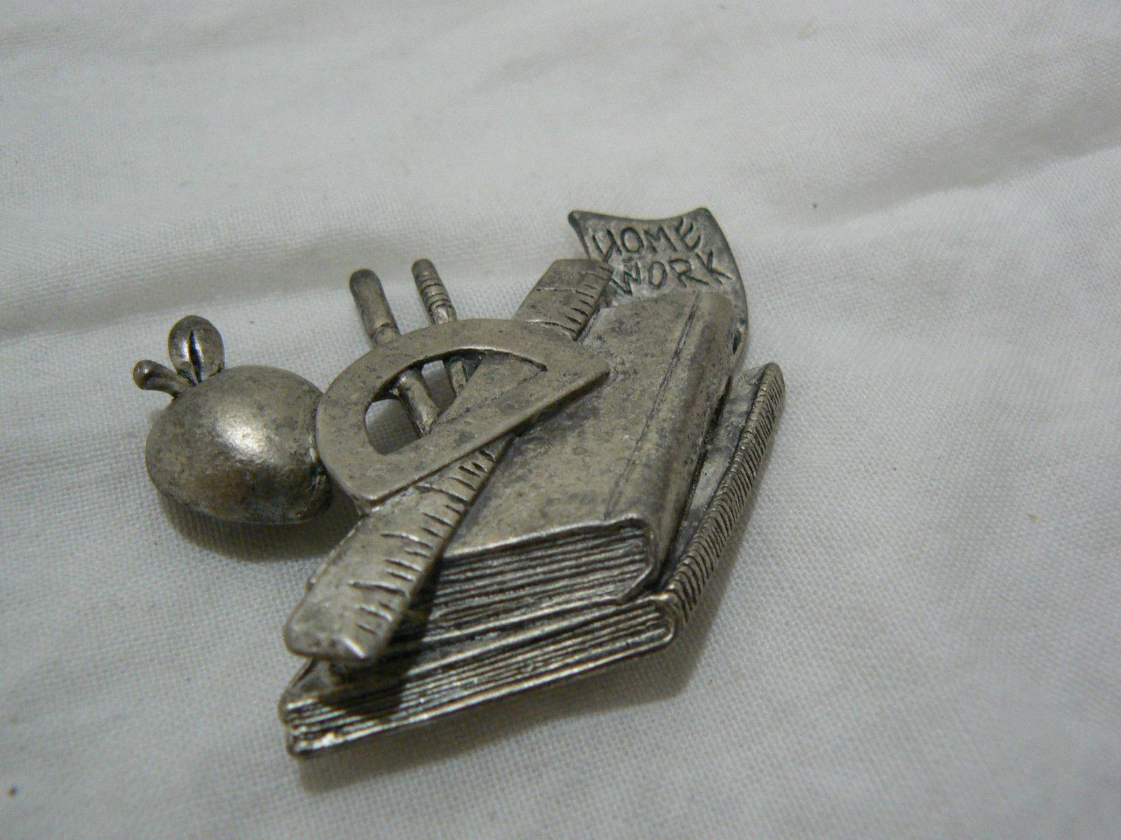 Vintage Unmarked Silvertone Pewter? Teachers Brooch