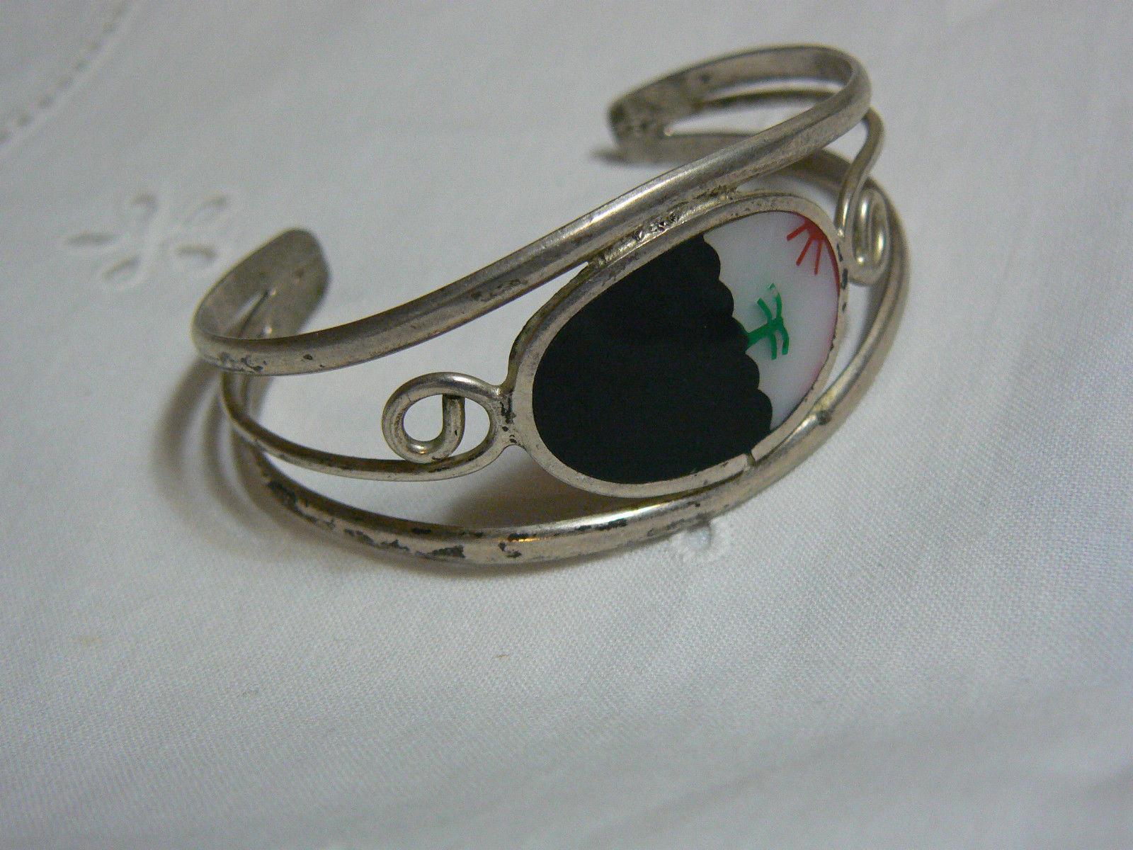 Vintage Alpaca Mexico Inlaid Abalone Silver Cuff Bracelet