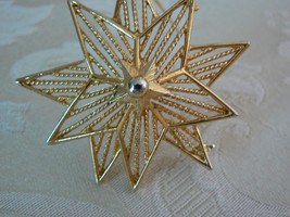 Beautiful Vintage Lisner Satin Finish Gold Filled Double Star Filigree B... - $15.98