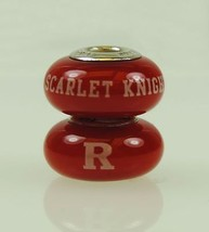 Fenton Red Glass Collegiate Bead Rutgers Sterling Silver Scarlet Knights... - $35.00