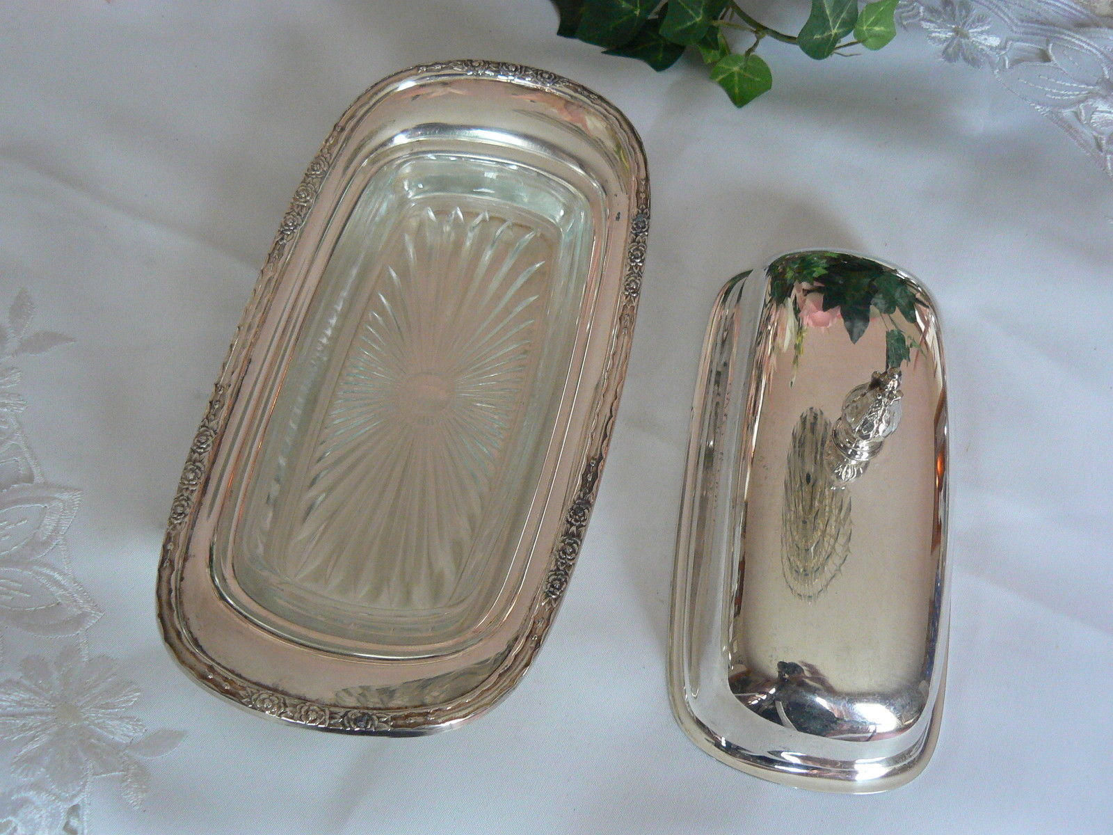 Lovely Vintage International Silver Co Camelle Pattern Silver Plated Butter Dish