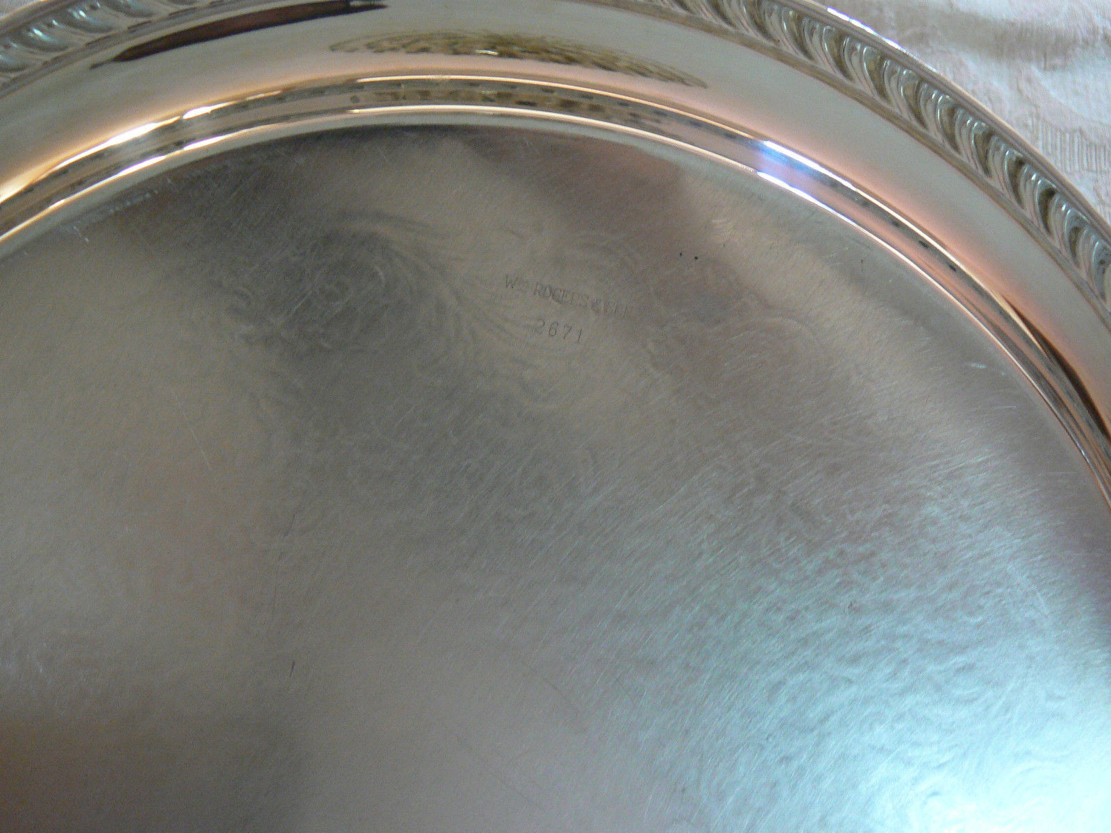 Vintage Wm Rogers & Son Silver Plate Scrolled Round Serving Platter