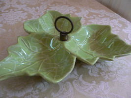 Vintage Green Three Leaf Condiment Dish Marked Made In USA No.10 Calif P... - $14.84