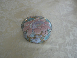 Ant/Vtg Oriental Peony Blossom Pink Aqua Purpl... - $11.87