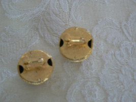 Stunning Vintage Napier Goldtone Large Button Clip On Earrings image 3