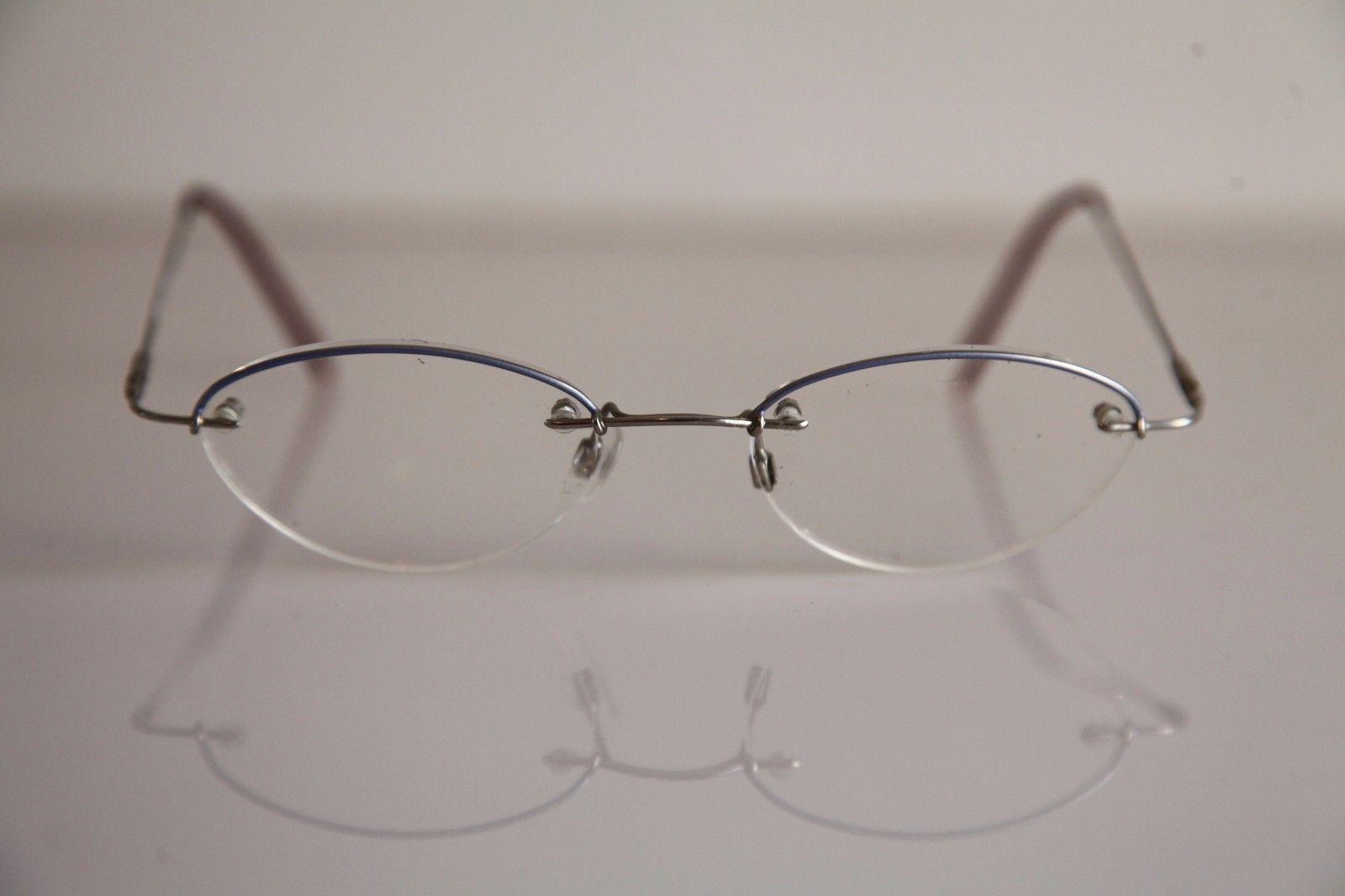 AMARETTA  ARGENTA Eyewear, Chrome Half Rimless Frame,   RX-Able Prescription.
