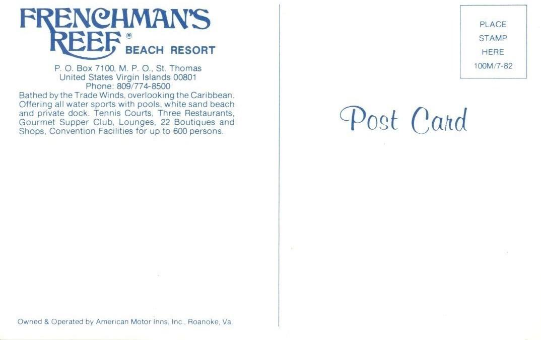 Frenchman's Reef, Beach Resort, Virgin Islands, unused Postcard