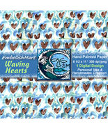 Paper Digital Hand-Painted Hearts Brown Blue Green 1 Design 8 1/2 x 11 - $1.95
