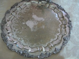 Gorgeous Antique Babour Silver Co Silverplate Ornate Grapes ScrolledServ... - $69.28