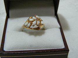 Lovely Vintage Gold Electro Plate White Stone Raised Setting Ring - $9.49