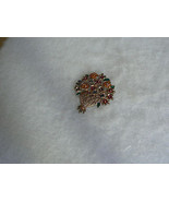 Lovely Vintage Goldtone Bouquet of Flowers Heart Brooch - $3.99