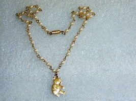 Vintage Childrens Faux Pearl Bear Necklace - $20.00