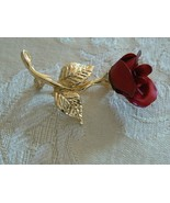 Avon Vintage Small Dainty Brushed Gold Tone Red Rose Stem Brooch - $12.86