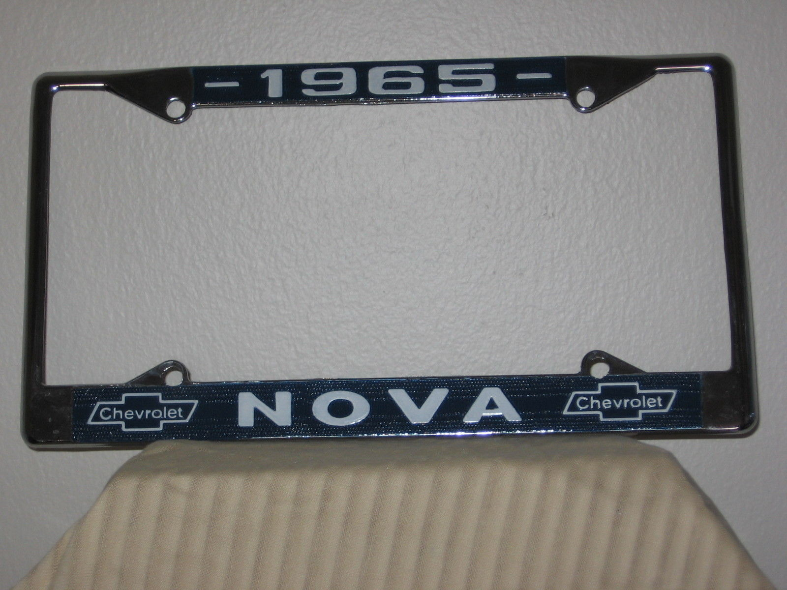 1965 Chevy Nova Chrome License Plate Frame with Chevrolet Bowtie