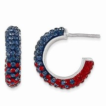 STERLING SILVER OLE MISS REBELS COLORS SWAROVSKI CRYSTAL HOOP EARRINGS  - $128.21