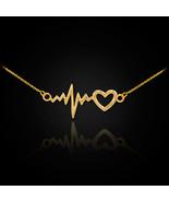 14K Polished Gold Heartbeat Pulse Necklace - $119.99 - $129.99
