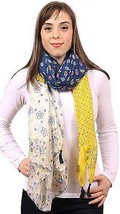 """Printed Scarf Wrap with Handmade Tassels, Yellow Blue White, 40"""" x 65"""", ... - £12.94 GBP"""