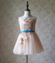 Blush Pink A-Line/Princess Knee-length Flower Girl Dress - Lace Sleeveless Scoop image 3