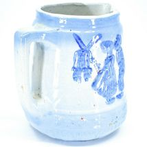 "Vintage Delft Blue Style Windmill Kissing Dutch Couple Stoneware 7"" Pitcher image 6"