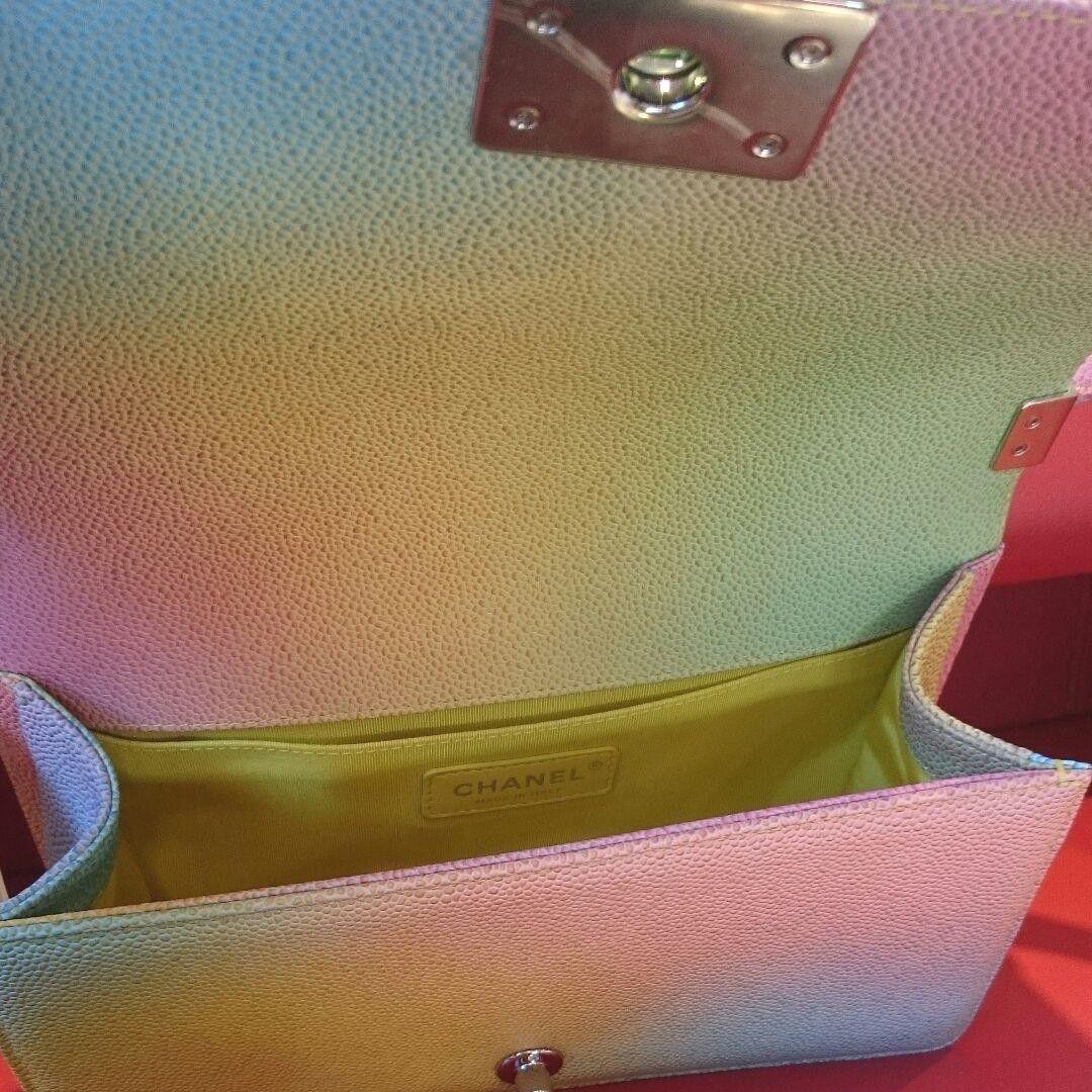 622a9e8d6d8230 Chanel Boy Shoulder Bag Rainbow Pouch Woman Auth New Never Used Rare M Size