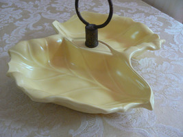 Vintage Yellow Two Leaf Condiment Dish Marked Made In USA No.3361 Calif ... - $14.84
