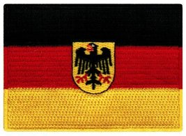 Germany Flag Embroidered Patch German Eagle Iron-On Aufnher Bundesdienstflagge - $3.99