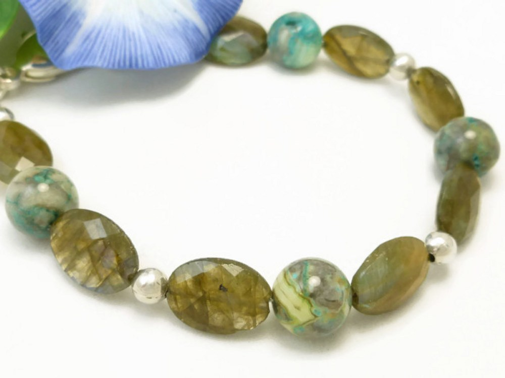 Oval labradorite natural faceted gemstone agate sterling bracelet  7a713a1c 1