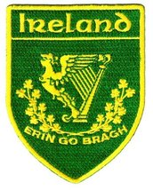 Erin Go Bragh Shield Embroidered Patch Irish Iron-On Ireland Clover Shamrock ... - $5.99