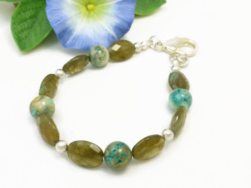 Oval labradorite natural faceted gemstone agate sterling bracelet  6decf36a 1