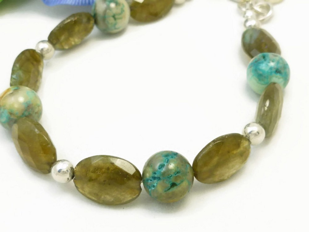 Oval labradorite natural faceted gemstone agate sterling bracelet  e6fbbb5b 1