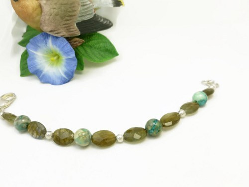 Oval labradorite natural faceted gemstone agate sterling bracelet  479e490f 1