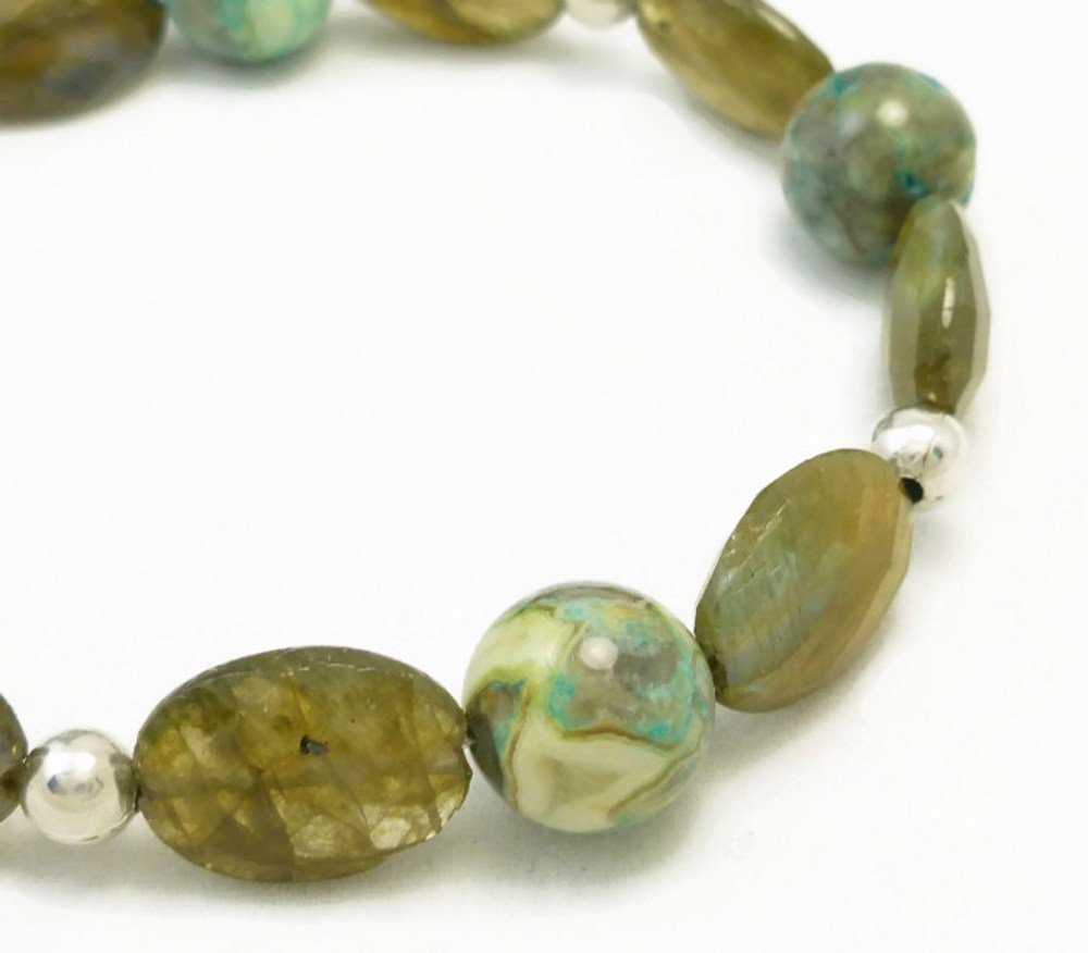 Oval labradorite natural faceted gemstone agate sterling bracelet  5675f062 1