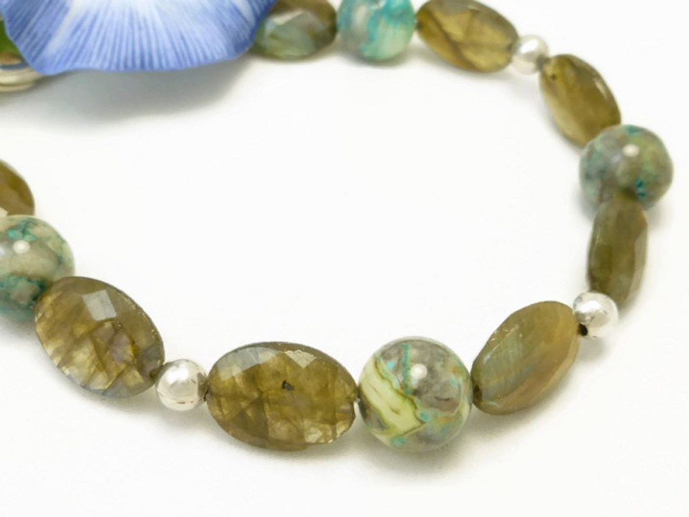 Oval labradorite natural faceted gemstone agate sterling bracelet  ef6dac54 1