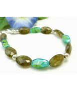 Oval Labradorite Natural Faceted Gemstone Aqua Glass Sterling Bracelet - $29.00