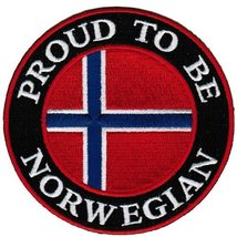 Proud To Be Norwegian Embroidered Patch Norway Flag Iron-On Biker Emblem - $5.99