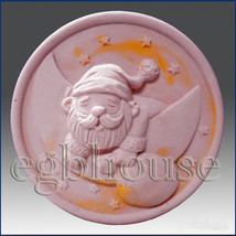 2D silicone Soap/polymer/clay/cold porcelain mold -  Snoozing Santa - $25.74