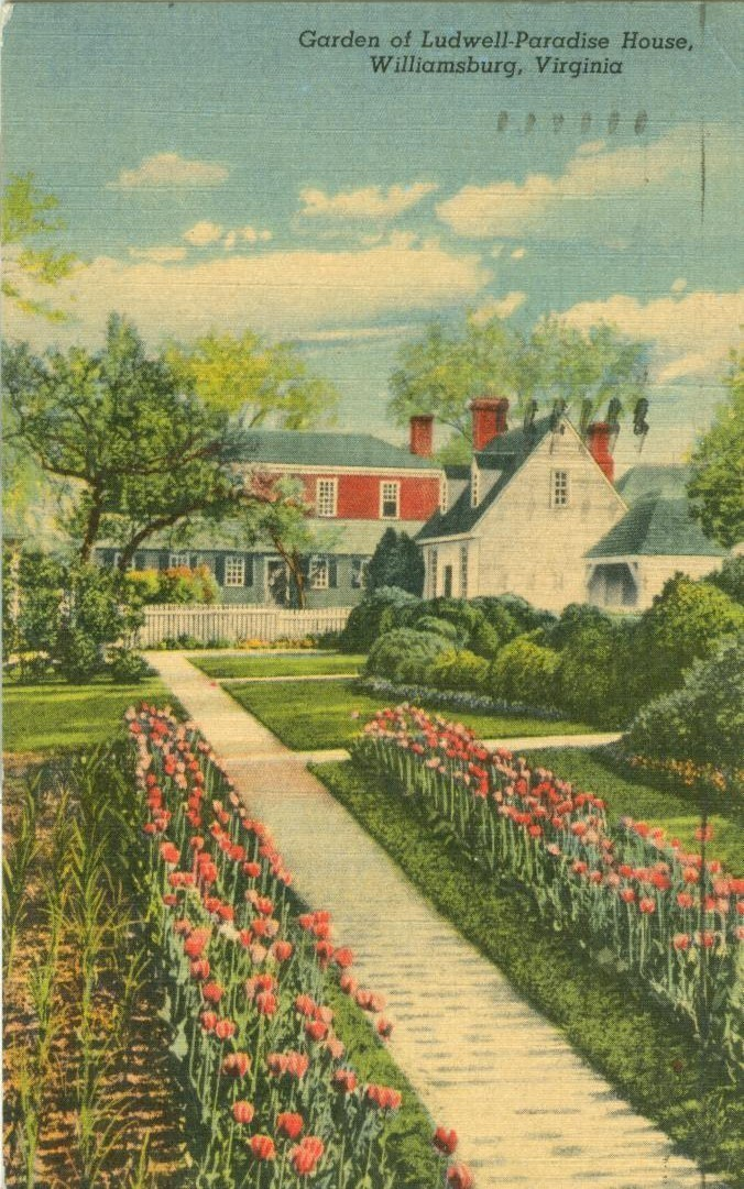 Garden of Ludwell-Paradise House, Williamsburg, Virginia, 1956 used Postcard