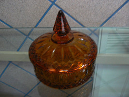 Beautiful Vintage Indiana Glass Amber Princess Pattern Covered Candy Dish - $24.74