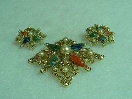 Beautiful Vintage Goldtone Sarah Coventry  Brooch Earrings - $34.64