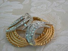 Fabulous Vintage BSK Goldtone Silvertone Rhinestone Unusual Design Brooch - $24.42