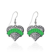 Green Ribbon Support Pave Heart Earrings French Hook Clear Crystal Rhine... - $9.80
