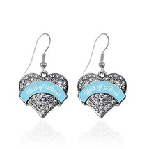 Light Blue Maid of Honor Pave Heart Earrings French Hook Clear Crystal R... - $9.80